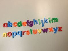 LOT OF 2 ALPHABET PLASTIC LOWERCASE LETTERS, MULTICOLORED