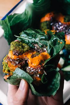 Vegan Turmeric Falafel And Harissa Tahini In A Romaine Lettuce Leaf Wrap / Faring Well