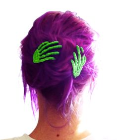 Bright Green Zombie Skeleton Hand Hair Clips.