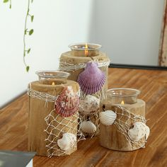 Handmade Sea Shell Wooden Candle Holders for Home Decor Natural Bars & wedding table decorations Candle Stand