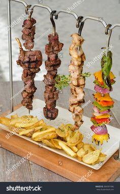 Cooked Chicken Beef Vegetable Kebab Skewers Stock Photo (Edit Now) 384391996 food design Food Trucks, Pub Food, Cafe Food, Food Design, How To Cook Chicken, Cooked Chicken, Kebab Skewers, Cuisine Diverse, Grill Restaurant