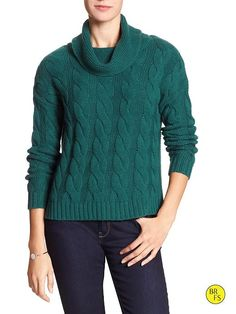 Factory Cable-Knit Cowl-Neck Sweater Product Image