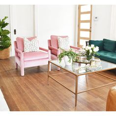 Milo Baughman Parsons Style Pink Velvet Lounge Chairs - A Pair - Image 2 of 7
