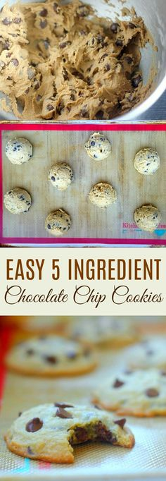 Quaker® Chewy Chocolate Chip Granola Bars – Easy Chocolate Chip Cookies – Chocolate Chip – Ideas of Chocolate Chip – Easy 5 Ingredient Chocolate Chip Cookie Recipe Easy Cheesecake Recipes, Easy Cookie Recipes, Easy Desserts, Dessert Recipes, Easy Recipes, Delicious Recipes, Homemade Chocolate Chips, Easy Chocolate Chip Cookies, Chocolate Chocolate