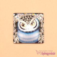 Kék bagoly mintás, négyzet alakú, 25 mm-es üveglencse • Gyöngyvásár.hu Cool Stuff