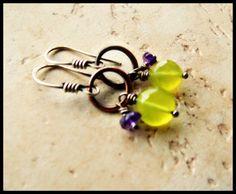 Yellow Chalcedony and Amethyst Gemstone Earrings  by SpiritIndigo, $34.00