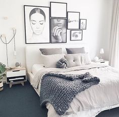 How gorgeous is @immyandindi customer @_honeypunch bedroom restyle featuring our light grey button cushion - monochrome perfection ✔️ - White bedroom