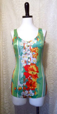 Vintage Pinup 1970s Hawaiian Floral Swimsuit by crazycraftchica, $35.00