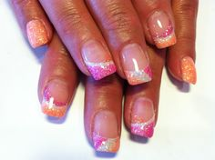 Pink, orange, and white gel nails Fancy Nails, Trendy Nails, Cute Nails, White Gel Nails, Glitter Gel Nails, Pink Glitter, Glitter Eyeshadow, 3d Nails, New Nail Designs