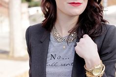 Love a statement necklace,t-shirt, and blazer combo
