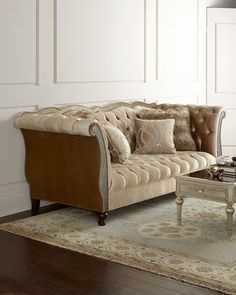for my master  bedroom: Leslie Mirrored Tufted Sofa by Haute House at Horchow.