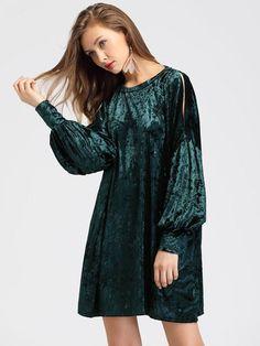 Plain Green Round Neckline Cut Out Bishop Long Sleeve Velvet Mini Dress