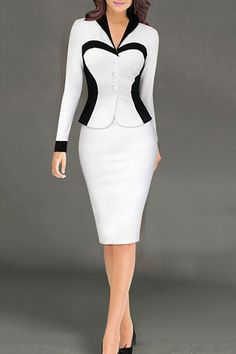 OL Style Long Sleeve Color Block Bodycon Faux Twinset Dress For Women
