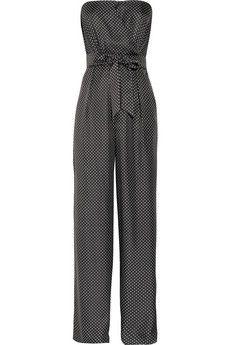 Strapless printed silk jumpsuit