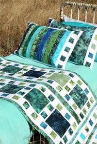 Mosaique De Mer Bed Runner and Pillow Shams Pattern