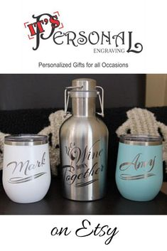 Let's Wine Down Together Personalized Wine Growler Gift Set. Insulated wine tumblers with 16 great colors to choose from. Stainless steel growler holds one full bottle of wine. Locking swing-top lid prevents spills for wine on the go! Perfect Christmas gift for couples! #christmasgifts #personalizedgifts #giftsforwinelover #giftforcouples #giftsfornewlyweds #christmasgiftforher #formom #forparents #fromkids #forfriend #winedecanter #pesonalizedwinebottl #winebottle #winegifts #christmas Christmas Gifts For Couples, Perfect Christmas Gifts, Holiday Gifts, Personalized Wedding Gifts, Customized Gifts, Custom Gifts, Gifts For Wine Lovers, Wine Gifts, Beer Lovers