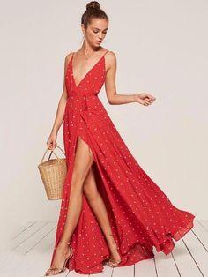 b08321af7f9 Polka-dot Split-side Condole Belted Dress. oshoplive