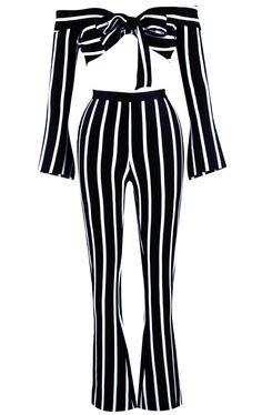ebdad8237264 Long Sleeve Two Piece Bandage Jumpsuit Black White