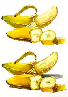 바나나 기초디자인 채색 과정작