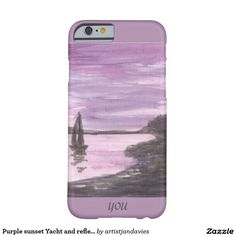 Purple sunset Yacht and reflections Add momogram Barely There iPhone 6 Case