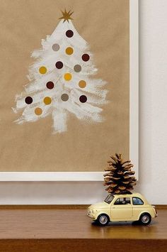 DIY Christmas tree wall art: Another super simple modern Christmas project for the littles. Noel Christmas, Modern Christmas, Christmas And New Year, All Things Christmas, Winter Christmas, Simple Christmas, Christmas Nails, Holiday Crafts For Kids, Christmas Projects