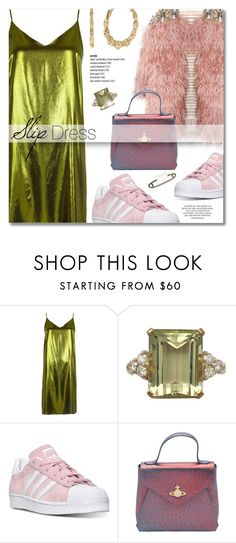 """""""Slip Dress"""" by lavida ❤ liked on Polyvore featuring River Island, adidas, Vivienne Westwood and Betsey Johnson"""