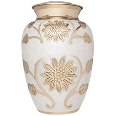 Funeral Cremation Urn for Human or Pet Ashes - Hand Made in Brass and Hand Enameled (White Enamel with Golden Flowers) - Liliane Memorials Lisette Blanc model (Adult) -- Hurry! Check out this great product : Home Decorative Accessories
