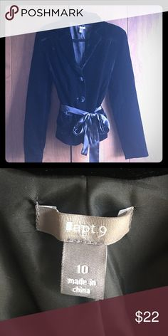 Black Velvet Blazer Like New - this is a great piece for work or job interviews to have in your closet. It is velvet with a satin belt that is removable. Apt.9 Jackets & Coats Blazers