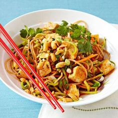 Healthy Lunch Recipes for Weight Loss | Spicy Thai Noodles with Tofu Cook 2 ounces whole-grain spaghetti. In a medium skillet, heat 1 teaspoon sesame oil, 1 teaspoon honey, and 1 teaspoon hot chili sauce (such as Sriracha) over medium heat. Add 2 ounces cubed tofu and 2 cups broccoli slaw; sauté 5 minutes. Toss noodles with tofu mixture, 1 tablespoon chopped peanuts, 1 tablespoon cilantro leaves, and 1 thinly sliced scallion.