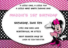 Printable PDF Minnie Mouse Invitations by ASweetCelebration