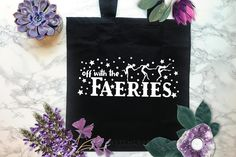 Off with the Faeries Black Tote Bag Witchcraft Supplies, Black Tote Bag, Faeries, Reusable Tote Bags, Candles, Trending Outfits, Unique Jewelry, Handmade Gifts, Kid Craft Gifts