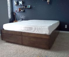 Platform Bed with Drawers- instruct able on building bed with built in drawers
