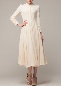 Vestido plisado manga larga-beige