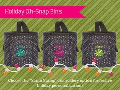 Oh Snap Bins for the holidays! Could be hung from hooks in place of stockings or used for small gift baskets. Could also be used to hold holiday decorations or maybe some sweet holiday treats! :) Thirty One Gifts.