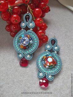 """Купить Серьги """"Калейдоскоп"""" - сутажная техника, сутажная вышивка, подарок, праздничное украшение, нарядное украшение"""