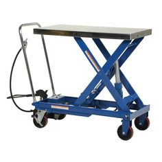 The Air Hydraulic Cart features a 2 speed foot pump and hand held reciprocating air/oil power to raise the platform. It utilizes the 2 speed foot pump for minor height adjustments and the factory air/oil Tilt Table, Fabrication Tools, Hydraulic Cylinder, Plastic Baskets, Steel Panels, Cart, Things To Sell, Pump, Wheels