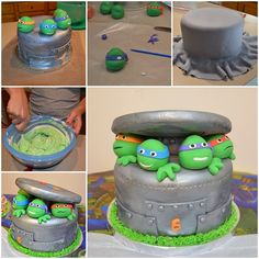 If you want to deviate from the normal simple birthday cake and try something new and creative and your birthday star IS a Ninja Turtle fan, this awesome handma Ninja Turtles, Ninja Turtle Cupcakes, Ninja Turtle Party, Turtle Birthday, 5th Birthday, Fondant Figures, Pug Cake, Tmnt Cake, Owl Cakes