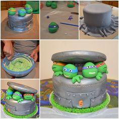 DIY Ninja Turtle Cake Tutorial - http://cakesmania.net/diy-ninja-turtle-cake-tutorial/