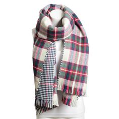 We are swooning over this reversible blanket scarf in ivory, green, magenta, navy, and red. It's a new addition to the shop this year just in time for Christmas and holiday gifts for her! Dimension: 7