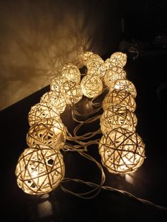 20 Natural White Color Handmade Rattan Balls Fairy String Lights Party Patio Wedding Floor Table or Hanging Gift Home Decoration. $14.47, via Etsy.