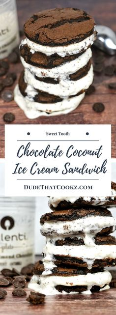 Anything that has the words triple, chocolate and fudge has to be a dessert you're willing to break your normal diet plan for. The triple chocolate fudge cookies teamed with coconut almond chocolate gelato are a very good but sinful tag team. #chocolate #desserts #icecreamsandwich #gelato via @dudethatcookz