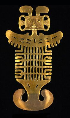 Tolima Culture, COLOMBIA bent 'feathers' or 'rabbit ears' with side-knot funnel ears wings and split fish merman tail scaley body Art Antique, Antique Jewelry, Colombian Art, Bijoux Design, Mesoamerican, Ancient Jewelry, Prehistory, Ancient Artifacts, Grafik Design
