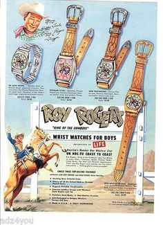 50s Vintage Character Watch Ad Roy Rogers Dale Evans Space Cadet Explorer Ranger | eBay