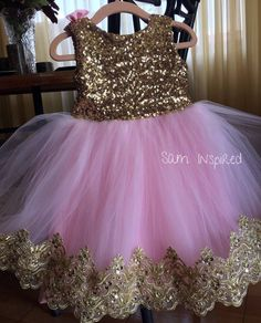 Princess dress /gold and pink dress/ gold dress / Baby Girl Party Dresses, Birthday Girl Dress, Birthday Dresses, Little Girl Dresses, Baby Dress, Pink Dress, Flower Girl Dresses, Gold Dress, Ballerina Birthday