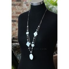 White Kabibe Shell Long Necklace in Chains - Neadri.com Shell Jewelry, Shell Necklaces, Unique Fashion, Chains, Philippines, Pearl Necklace, Shells, Fashion Accessories, Pearls