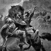 Fenrir vs. Odin in the Ragnarok