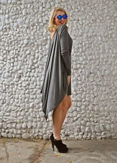 ON SALE 40% OFF Grey Maxi Dress / Grey Loose Dress / by Teyxo