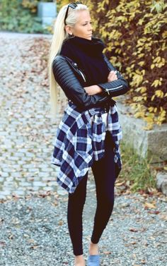 tie a plaid shirt with your leather jacket.....and black leggings...!!