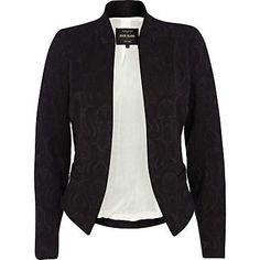 Black jacquard structured blazer - blazers - coats / jackets - women