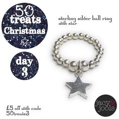 "Day 3 of ""50 Treats to Christmas"" 5 off our sterling silver ball ring with star charm  Code 50treats3 at the checkout Valid today only!  #50treatstoChristmas #jacyandjools #Christmas #wishlist #christmasiscoming #destinationchristmas #jewellery #Cheshire"